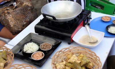 tuslob buwa setup with wok and puso